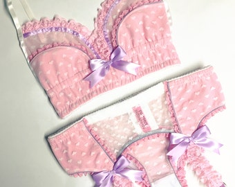 White Heart Mesh with Pink & Lilac Accents Garter Belt - Pick Your Size