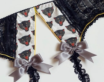 Black Lace Panther Garter Belt with Metallic Silver Accents - Pick Your Size