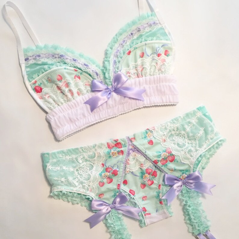 Mint Strawberry Print Bra  Pick Your Size image 0