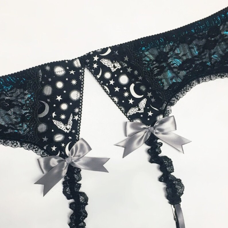 Black Lace Bat Garter Belt with Metallic Midnight Blue Accents image 0