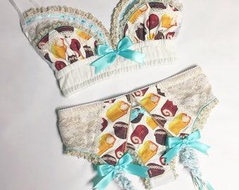 Gold Lace Snack Cake Bra - Pick Your Size - Handmade Vegan Bridal