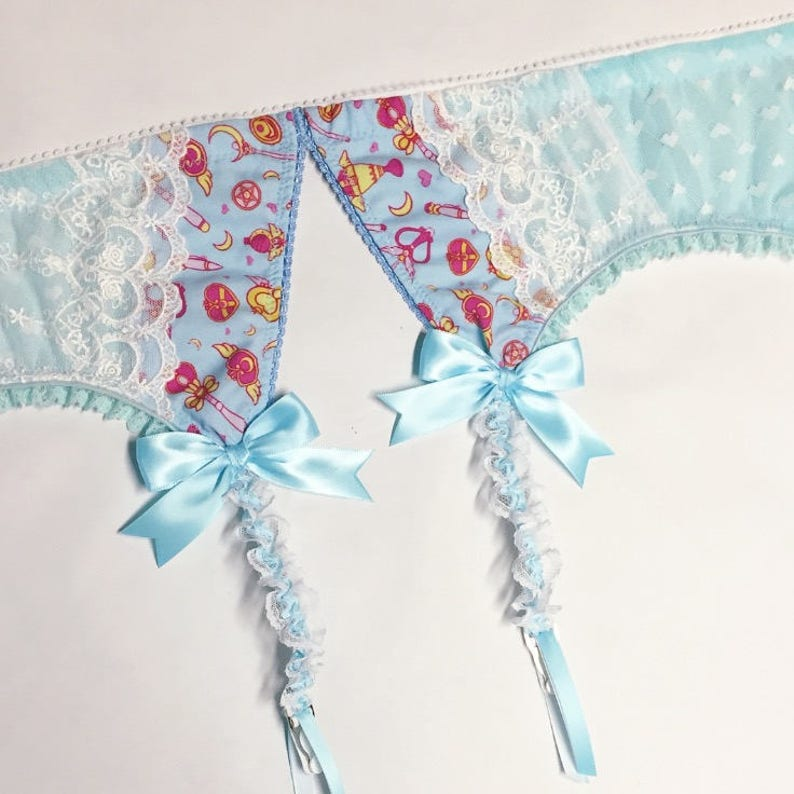 Light Blue Sailor Moon Garter Belt  Pick Your Size image 0