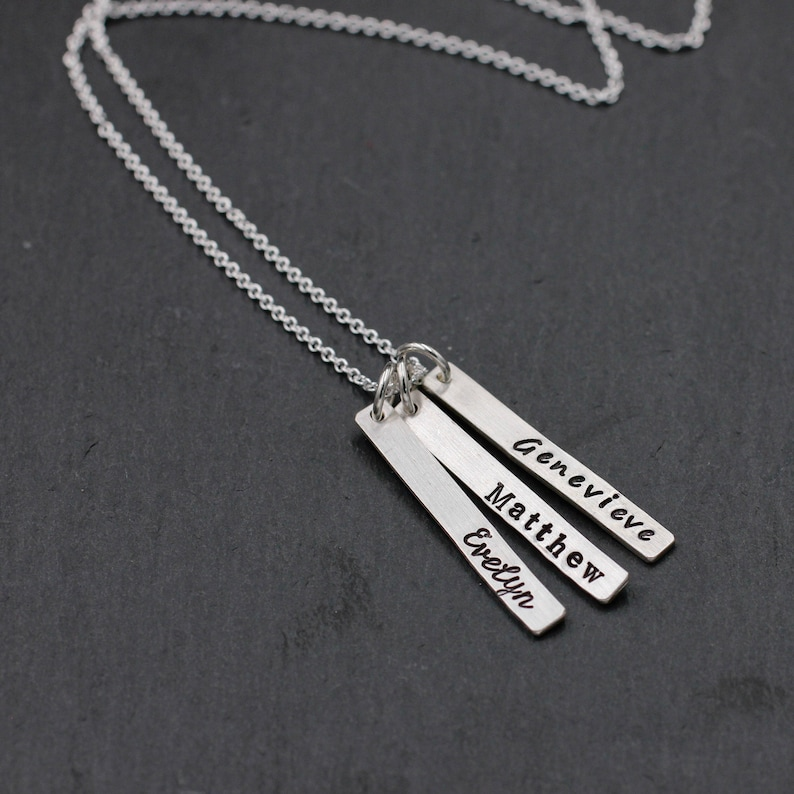 Skinny Rectangle Name Necklace in Sterling Silver