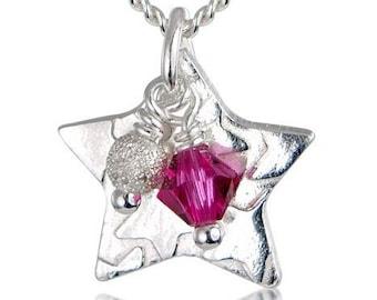 Childrens Little Star Necklace - Pink