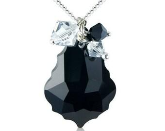 Baroque Crystal Cluster Necklace in Jet Black