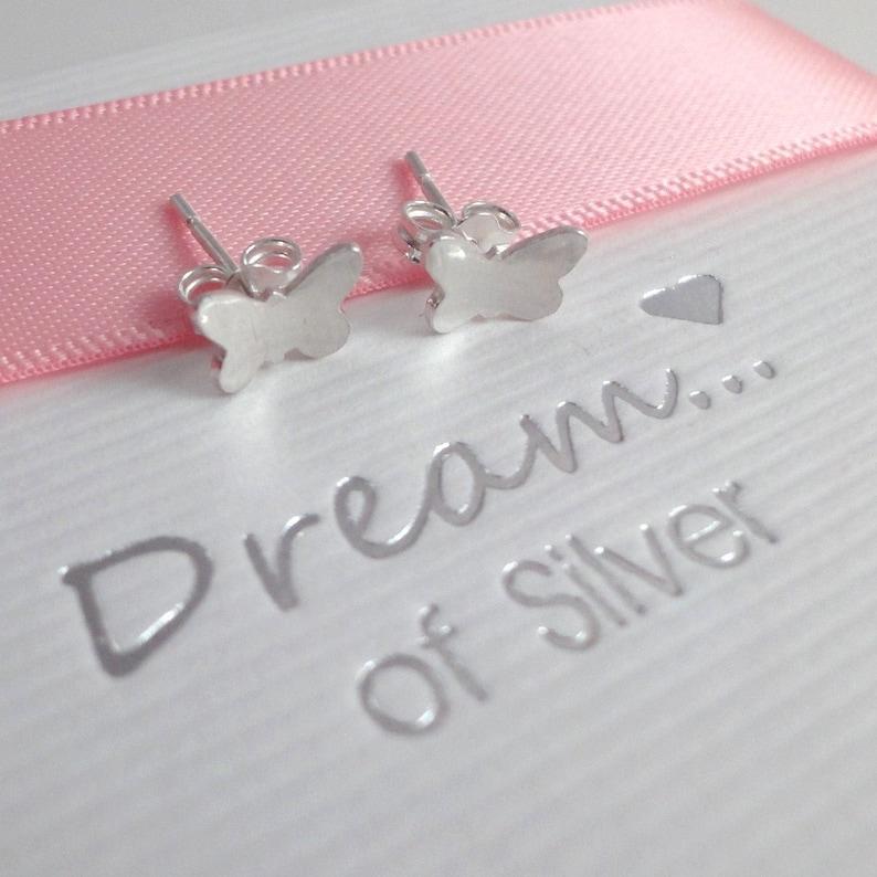Silver Butterfly Stud Earrings image 0