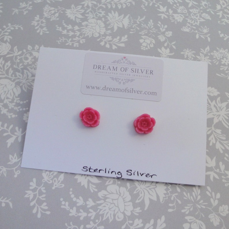 Blossom Stud Earrings  Bright Pink image 0