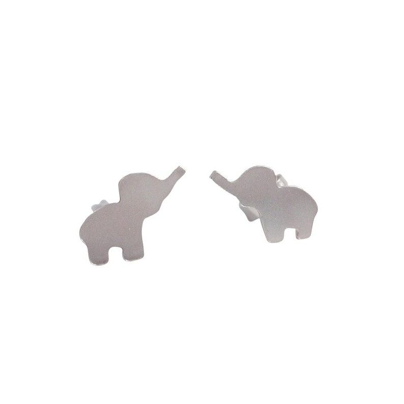 Silver Elephant Stud Earrings image 0