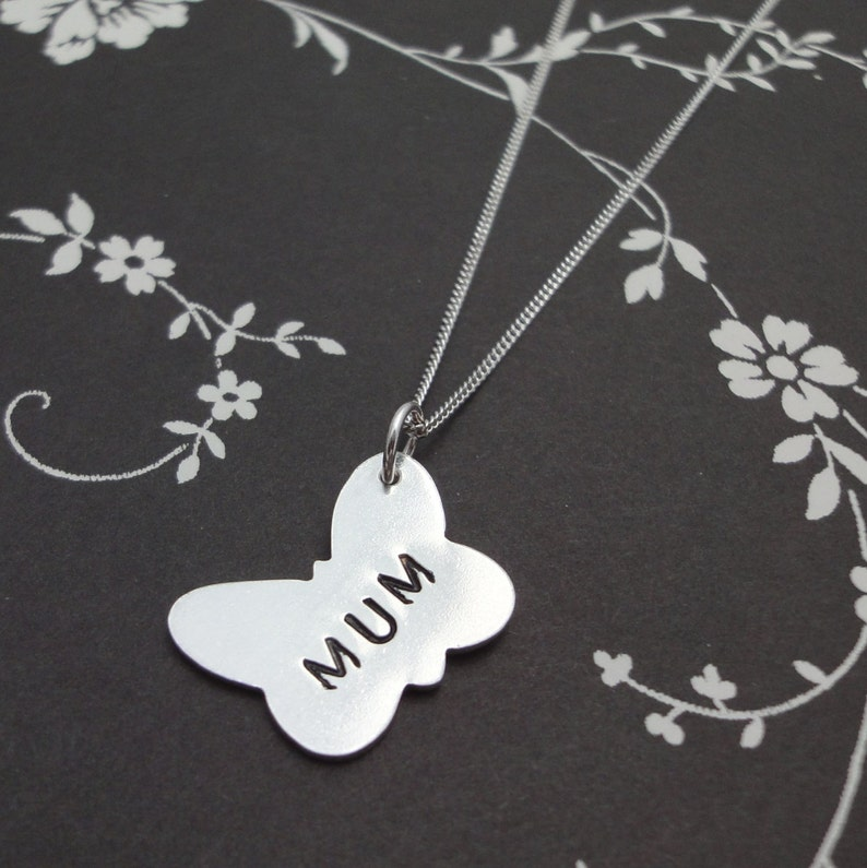 Silver Butterfly Necklace with 'Mum' Print image 0