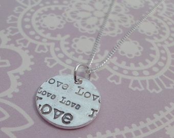 Small Love Print Necklace - One Off