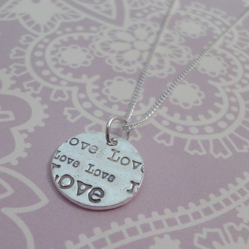 Small Love Print Necklace  One Off image 0