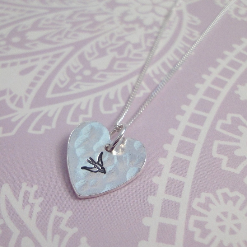 Silver Heart Necklace With Bird Print image 0