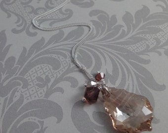 Baroque Crystal Cluster Necklace in Golden Brown