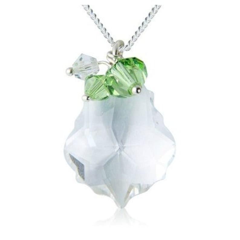 Baroque Swarovski Crystal Cluster Necklace  Clear & Green image 0
