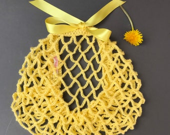 New! Sunshine yellow snood/hairnet crocheted to an original 1940s pattern - 3 sizes available