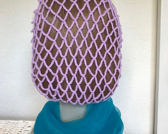1940s retro snood hairnet in lilac