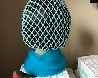Aqua snood/hairnet crocheted to an original 1940s pattern - 3 sizes available