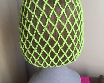 Bright/neon lime green acrylic snood/hairnet crocheted to an original 1940s pattern - 3 sizes available