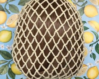 Lemon shimmer snood 1940s style retro ribbon hairnet