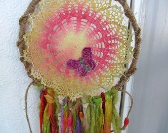 Colorful Handmade Dreamcatcher, Native American Dream catcher, Sunshine, Bright Fabric Tapestry, Moonlilydesigns, Boho Dreamcatcher, Gypsy