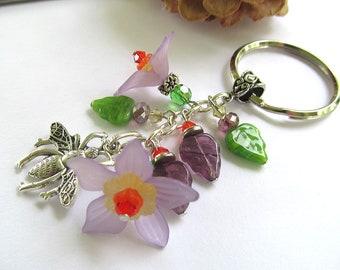 Sweet Honey Bee Keychain, Boho Keychain, Flower Keychain, Bohemian, Botanical, Whimsical Keychain, Moonlilydesigns, Lavender Flowers