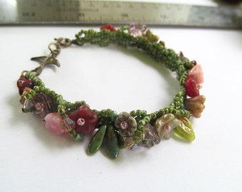 Secret Garden Beaded Bracelet, Bohemian Floral Jewelry, Botanical Bracelet, Beadwork, Beadwoven Cuff, Flowers, Boho Chic, Moonlilydesigns