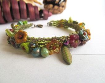 Wandering Gypsy Beaded Bracelet, Bohemian Floral Jewelry, Botanical Bracelet, Beadwork, Beadwoven Cuff, Flowers, Boho Chic, Moonlilydesigns