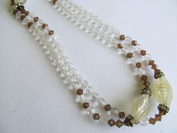 Vintage Clear Brown Bead Necklace