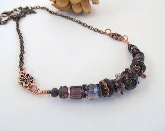 Amethyst Dreams Bib Necklace, Bohemian Necklace, Glass Bead Antique Copper necklace, Purple Bead Necklace, Moonlilydesigns, Vintage Boho