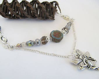 Silver Fairy Bohemian Layer Necklace, Boho Jewelry, Fairy Pendant necklace, Druzy Beads, Moonlilydesigns, Moon Child, Boho Chic, Fantasy