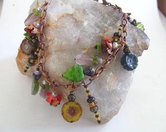 Dragonfly Charm Bracelet, Copper Bracelet, Bohemian Charm Bracelet, Moonlilydesigns, Flower Beads, Glass Beaded Bracelet, Boho Chic, Gypsy