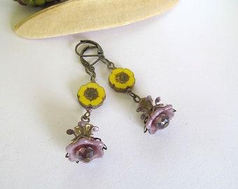 Yellow Flower Earrings, Antiqued Brass Earrings, Sunflowers, Dangle Flower Earrings, Czech Glass Flower Bead Earrings, Bohemian Earrings