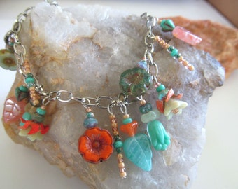 Beach Babe Charm Bracelet, Bohemian Charm Bracelet, Moonlilydesigns, Flower Beads, Glass Beaded Bracelet, Boho Chic, Gypsy