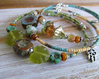 Stacking Memory Wire Bracelet Set, Mother Earth, Earthy Rustic Bracelet, BoHemiaN BeaD BraCeLet, BoHo JeWeLry, Glass Beads, MoonLilY DeSignS