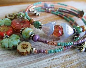 Stacking Memory Wire Bracelet Set, Lavender Coral, Botanical Bracelet, BoHemiaN BeaD BraCeLet, BoHo JeWeLry, Glass Beads, MoonLilY DeSignS