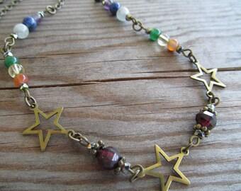 Shooting Stars Chakra Balance Necklace, 7 Stone Chakra, Healing Jewelry, Multi Gemstone Necklace, moonlilydesigns, Bohemian Necklace