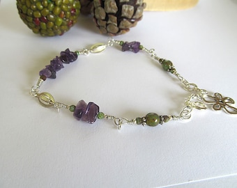 Amethyst Bead Anklet, Gemstone Ankle Bracelet, Bohemian Anklet, Boho Chic, Summer Foot Jewelry, Gypsy Soul, Beaded Anklet, Moonlilydesigns