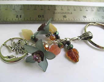 Moon Fairy Keychain, Boho Keychain, Flower Keychain, Bohemian, Botanical, Whimsical Keychain, Moonlilydesigns, Earthy