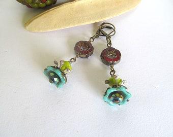 Antiqued Brass Earrings, Red Flower Earrings, Gypsy Earrings, Rustic Flower Earrings, Czech Glass Flower Bead Earrings, Bohemian Earrings