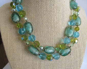 Vintage Aqua Lime Glass Bead Choker, Mid Century Multi Strand Necklace, Moonlilydesigns, Crystal AB Necklace, Retro jewelry, Pin Up