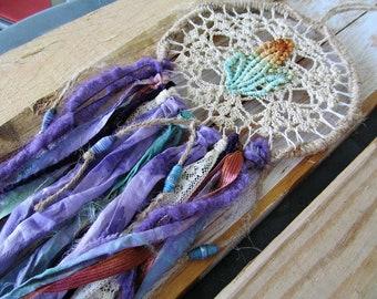 Vibrant Handmade Dreamcatcher, Native American Dream catcher, Desert Moon, Purple Fabric Tapestry, Moonlilydesigns, Boho Dreamcatcher, Gypsy