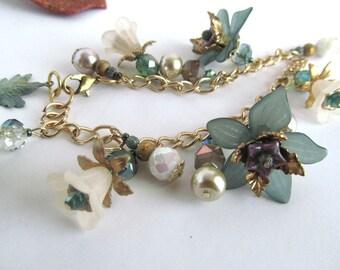 Teal Floral Charm Braceletand earrings, Elegant Charm Bracelet, Winter Wedding Bracelet, Moonlilydesigns, Beaded Bracelet, Flower Bracelet