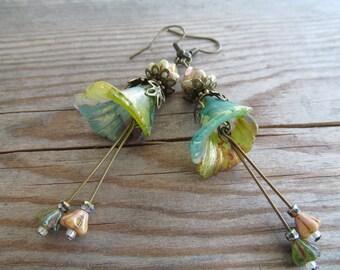 Long Dangle Wild Flower Earrings, Wildflower, Fancy Earrings, Stay wild moon child, Bohemian Earrings, Boho, Gypsy Soul, Moonlilydesigns
