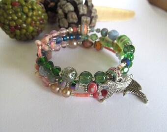 Bohemian Wrap Braclet, Hummingbird, Memory Wire Bracelet, Summer Jewelry, Moonlilydesigns, Boho Bracelet, Beaded Cuff Bracelet
