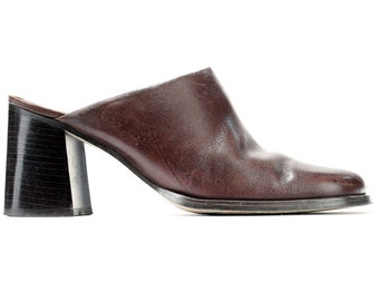 3c25c4677d7a US size 7 Block Heel Leather Mules Heels Vintage 90s Slip On Brown Shoes  Square Toe Retro 90s Mules Made in Brazil . Eur 37.5 Uk 4.5