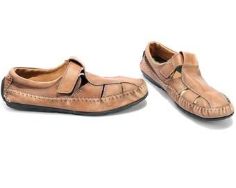 ae70b00edcd386 US-Männer 8 Mokassin Sandalen Herren 80er Jahre Leder R Gladiator Vintage  Leder Huarache Sandalen hergestellt In Italien breit passen braun Uk 7