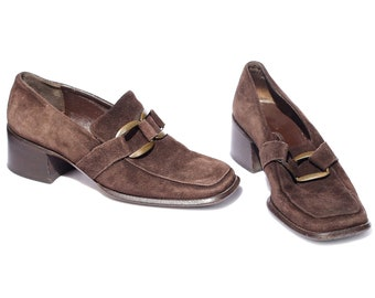 US 6.5 Heeled Loafers Block Heel Leather Shoes Vintage 90s