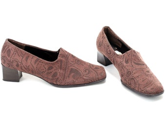 1dad74736cb US women 6.5 Vegan Footwear Bohemian Vintage Faux Suede Shoes Patterned  Brown Retro Heels Comfortable Boho 90s Slip On Shoes . EUR 37 UK 4