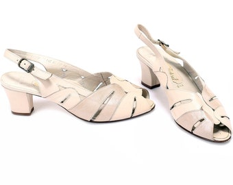985ac8a71f39 US size 8 Ivory White Sandals Heeled 70s Wide Fit Leather Strap Sandals  Vintage Chunky Heel Cream Beige Shoes Summer UK 5.5