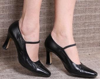 c70d31be063 US women 8.5 Vintage 90s Black Leather Mary Janes Heels Formal Elegant  Stretchy Strap Regular Fit Heeled Pumps Leather Sole . EUR 39 UK 6